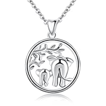 AEONSLOVE 925 Sterling Silver Lucky Elephant Family Love Forever Pendant 18 Necklace, Gift for Women Mom