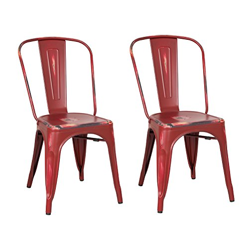 Joveco Stackable Industrial Chic Distressed Metal Dining Chairs, Set of 2, Antique Sanguine Brown