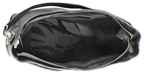 Damen LEDER 019295 ECHT schwarz Shopper CLUTY wqZ400