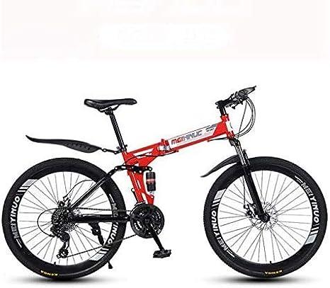 HYCy Bicicleta Plegable De Bicicleta De Montaña,Cuadro De Acero De Alto Carbono para Bicicletas MTB De Doble Suspensión,Doble Freno De Disco,Pedales De PVC Y Puños De Goma: Amazon.es: Deportes y aire libre