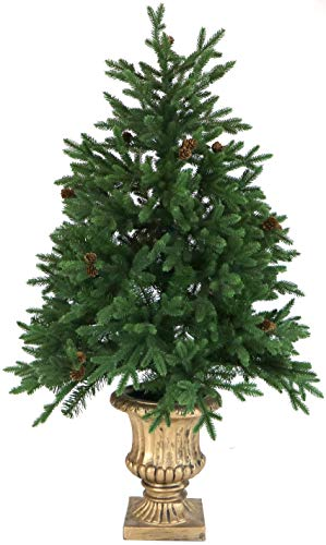 Fraser Hill Farm 4-Ft. Noble Fir Artificial Tree with Metallic Urn Base and Battery-Operated Multi-Colored LED String Lights, FFNF056-6GRB Christmas Decoration, One, Green