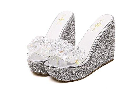 Talón Sandalias Moda Casual Lvyuan Impermeable Heel Grueso Silver Plataforma Las Zapatillas Rhinestones Verano Confort Mujeres De Alto Wedge Fondo TxqgTRZw