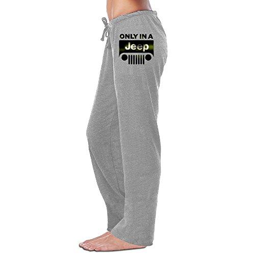 Mako62 Womens Only In A Jeep Logo Sports Yoga Pants/Sweatpants Medium Ash