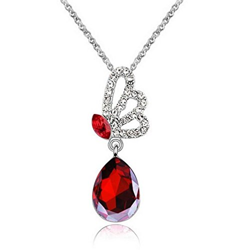Yuntun New Design Austrian Crystal Butterfly Wings Pendant Series Jewelry Necklace(Red) ()