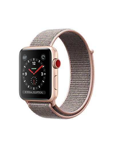 Apple watch series 3 Aluminum case Sport 42mm GPS + Cellular GSM unlocked (Gold Aluminum case with pink sand sport loop) by Apple watch series 3