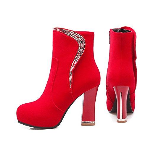 Allhqfashion Womens Low-top Zipper Smalto Opaco Tacco Alto Chiuso Stivali Punta Rotonda Rosso