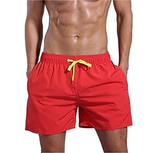 ORANSSI Men's Quick Dry Swim Trunks Bathing Suit Beach Shorts, Orange Red, Large, 38-40 Waist