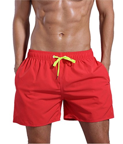 ORANSSI Men's Quick Dry Swim Trunks Bathing Suit Beach Shorts Orange Red]()