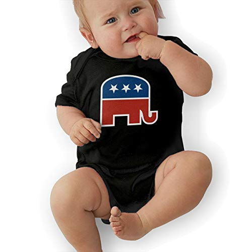 - KOKOBABY American Republican Party Elephant Political Baby Short Organic Pajamas Organic Bodysuits Black