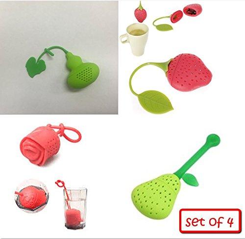 KisKis - Set of 4 - Silicone Design Tea Fruit Infuser Strain