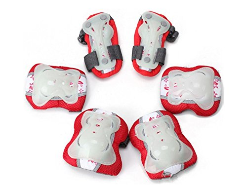 Skating 6 Pcs/Set Kid's Protective Gear Set with Elbow Knee Wrist Pad for Roller Skating Skateboard BMX Scooter Cycling (Red M for Protection by Wetietir