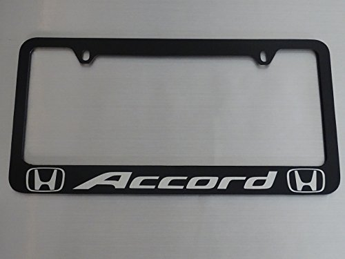 Honda accord license plate frame, glossy black metal, Brushed aluminum ()