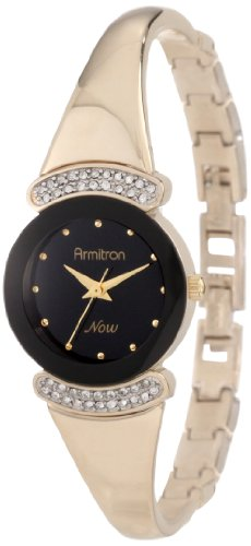 Armitron Women's 75/3870BKGPSET Swarovski Crystal Accented Gold-Tone Bangle With Gold-Tone Bracelet Watch Set