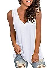 Women Sleeveless V-Neck T-Shirt Tops, Summer Loose Solid Tank Vest Casual Plain Tunic Blouse