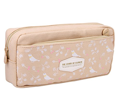 KINGSEVEN Canvas Multi-propose School Stationary Pouch Cosmetic Pouch Pencil Bag Pen CASE (Beige)