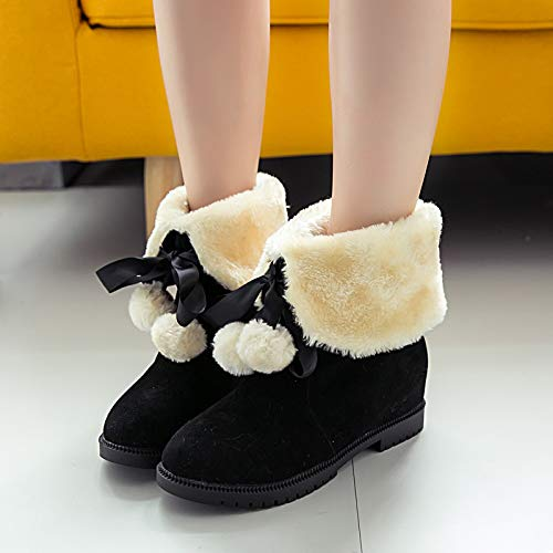 LHJY Snow Boots Cotton Boots Winter Cotton Shoes Low Heels Thickening and Warmth Bow Boots Black Thirty Eight