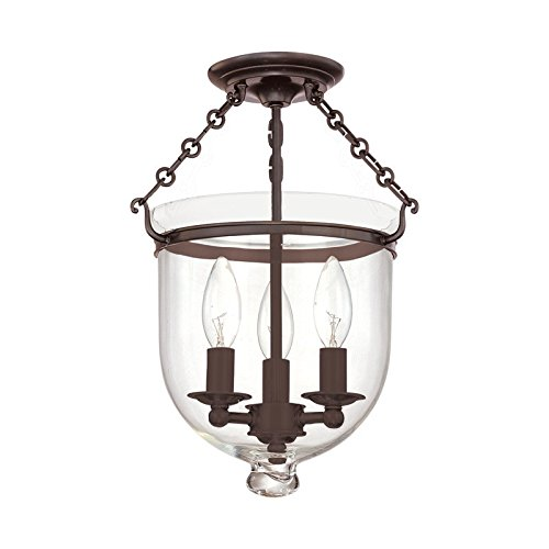 251 Hampton 3 Light - Hampton 3-Light Semi Flush - Old Bronze Finish with Clear Glass Shade