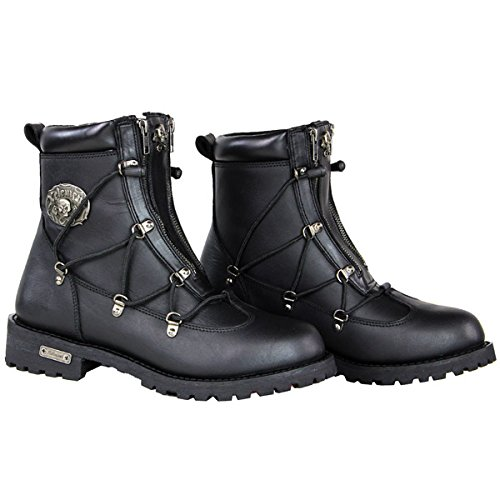 Xelement X93007 BLACK Flathead Mens Black Performance Leather Boots - 10 1/2