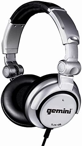 Gemini DJX Series DJX-05 Professional Audio Collapsible Lightweight DJ Headphones with 50mm High-Output Drivers and 4.5ft. Tangle-Free Cable