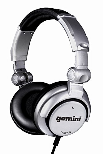 (Gemini DJX Series DJX-05 Professional Audio Collapsible Lightweight DJ Headphones with 50mm High-Output Drivers and 4.5ft. Tangle-Free Cable, Silver)