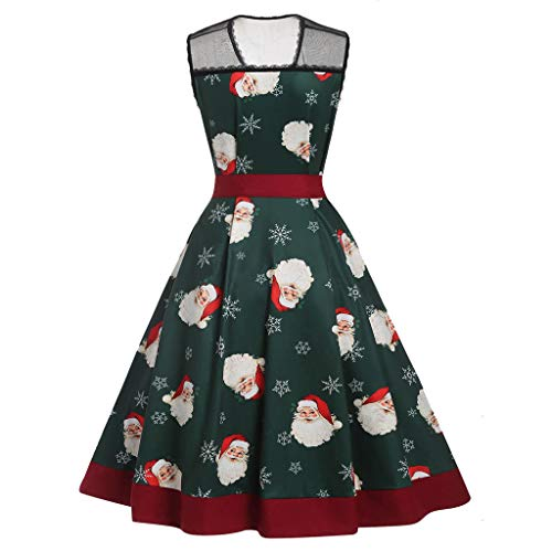 Clearance Sale Christmas Dresses for Women FEDULK Lace Vintage Sleeveless Santa Claus Print Flared Party Dress(Green, US Size S = Tag M)