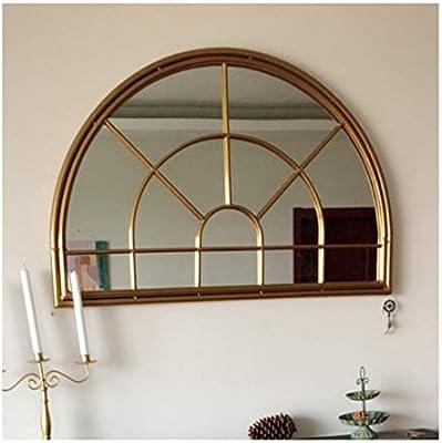 Mirror-DJJJZ Arco Espejo de Pared Arco rústico Jardín del Espejo for Interiores y Exteriores Uso, Blanco Antiguo de Montaje en Pared de Metal Espejo de la Ventana, Grande 80cm x 60cm: Amazon.es: