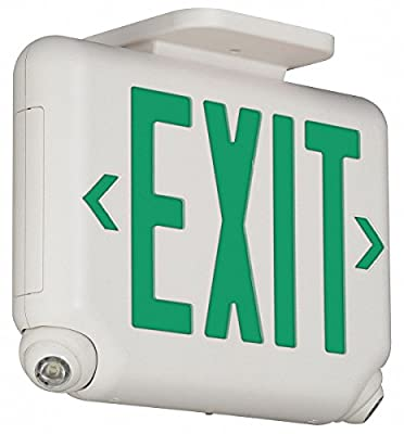 Hubbell Lighting EVCUGW Architectural Combination Exit Sign and Light (2) LED White Housing Green Letter Dual-Lite