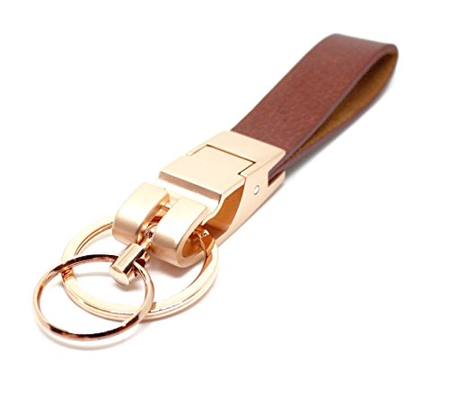 Mehr Platinum Series Luxury Valet Key Chain - Simple, Elegant, Durable Multi-ring Key Holder - Useful Keychain (Gold-Brown)