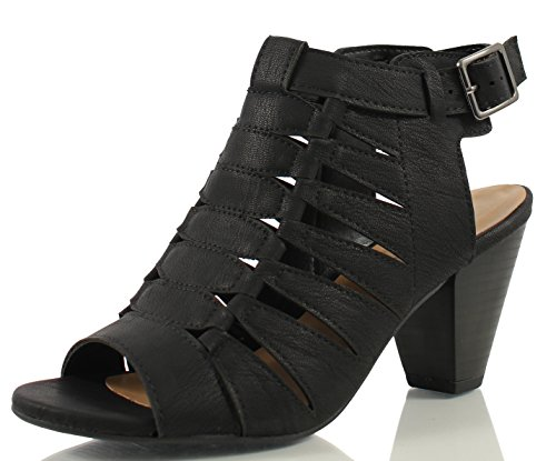 City Classified Women's Lineup Faux Leather Open Toe Gladiator Cutout Cone Stacked Heels, Black, 7 M US -