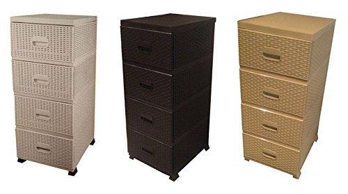 Homeware Needs Rattan Plastic 4 Draw Chest Drawers Storage