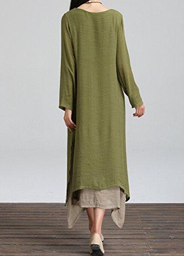 Vogstyle Mujeres Manga Corta Doble Capa Estival Vestido Largo Green-long sleeve