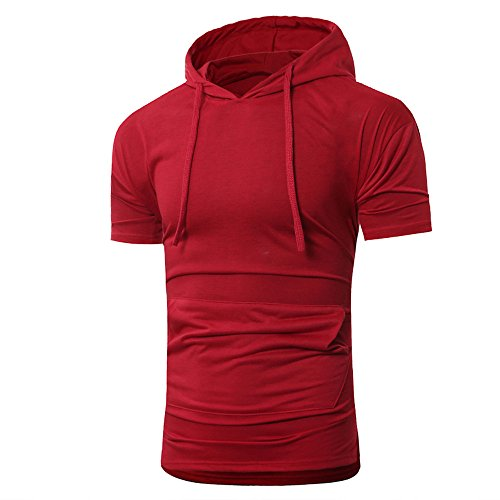 - OrchidAmor 2019 T Shirt, Men's Summer Fashion Hooded Pullover Short Sleeve Blouse Camis Tanks Red