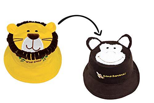 FlapJackKids - Kids' Sun Hat - Lion/Monkey Medium (2-4 yrs) -