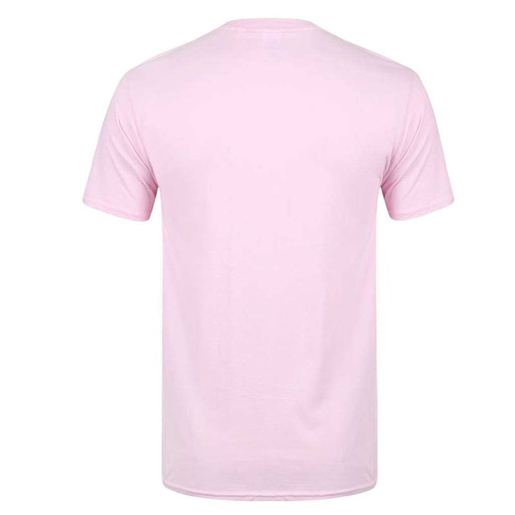 Allywit-Mens Spring Summer Casual Fashion Cute Printing O-Neck Short Sleeve Cotton T-Shirt Pink by Allywit-Mens (Image #2)