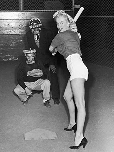 Home Comforts Laminated Poster Marilyn Monroe Playing Baseball Art Pinup Girl Sports S Artwork Vivid Imagery Poster Print 24 x 36 ()