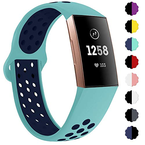 QIBOX Compatible with Charge 4 / Charge 3 Bands, Sports Silicone Replacement Women Men Bands Breathable Soft Strap…