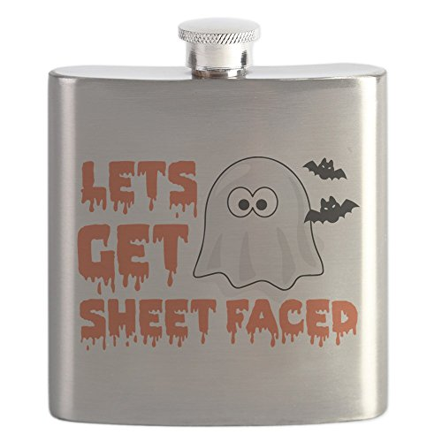 CafePress - Let's Get Sheet Faced - Stainless Steel Flask, 6oz Drinking -