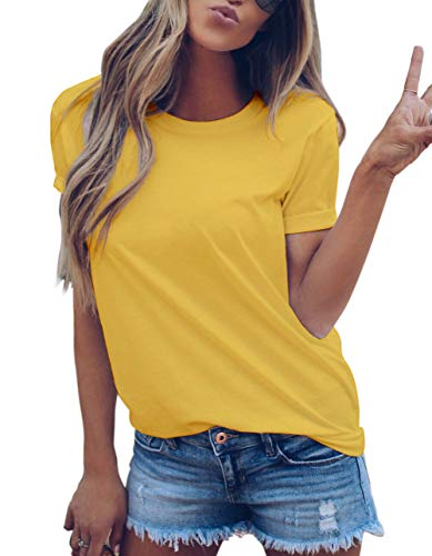 LOVFEE Women's Basic Cotton Crewneck O-Neck Short Sleeve Loose Casual T-Shirts(Yellow/L)