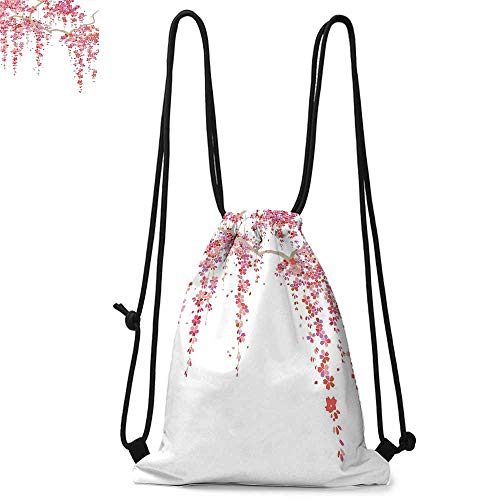 House Decor Easy to carry drawstring backpac Cherry Blossom Trees Branch Springtime Happy Vacation Traveling Destinations Durable Drawstring Backpack W13.4 x L8.3 Inch