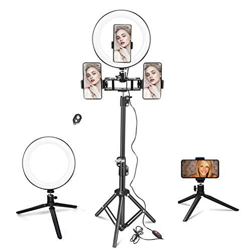 Ring Light with Stand & Phone Holder, Zttopo Dimmable (>95Ra) LED Selfie Ring Light with Desktop Tripod for Live Stream, Photography, Makeup, YouTube, TikTok, Camera, Compatible with Most Cellphone