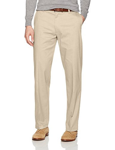 LEE Men's Total Freedom Stretch Relaxed Fit Flat Front Pant, Sand, 33W x - Wet Dress Look Stretch