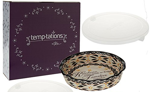 Temp-tations 9 inch Pie Plate w Kitchen Sentiment w Cover & Gift Box (Old World Black)