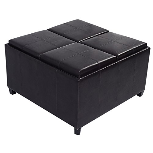 Nongminkshop Contemporary Modern Luxury 4 Tray Open Top Ottoman Storage Coffee Table In Pu