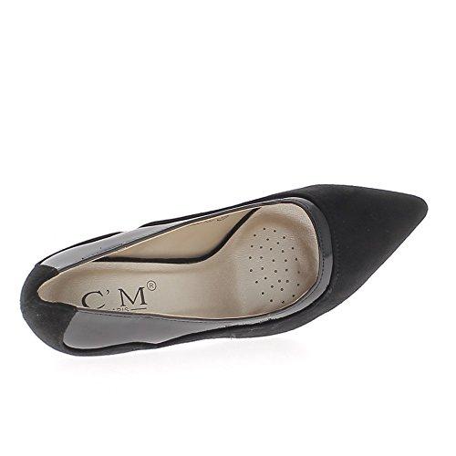Escarpins noirs pointus à talons fins de 10cm aspect daim et cuir