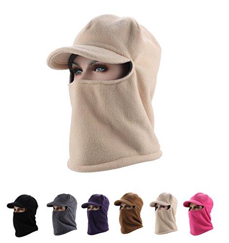 Unisex Balaclava Winter Windproof Cap Face Mask Neck Warmer Ski Hood Hat Skull Cap with Visor (beige)