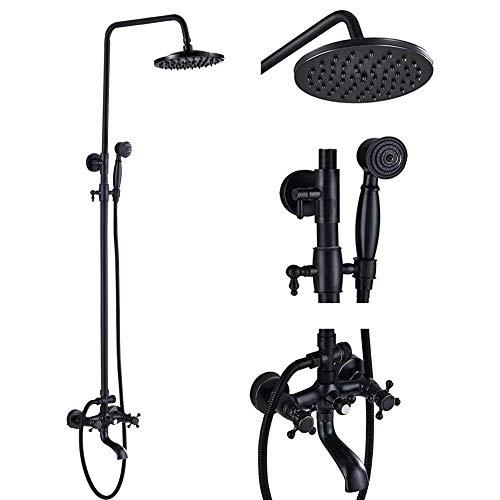 - Votamuta Oil Rubbed Bronze Wall Mounted 8-Inch Rainfall Shower Faucet Set Dual Cross Handles Bathtub Rain Shower Mixer Tap with Hand Sprayer Head