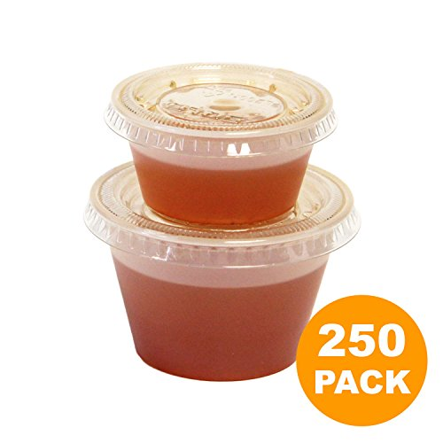 [250 Pack] 2 oz and 4 oz BPA Free Plastic Portion Cup with Clear Lids Combo Disposable Jello Shots Sauce Condiment Souffle Dressing Mini Containers [125+125 Pack]