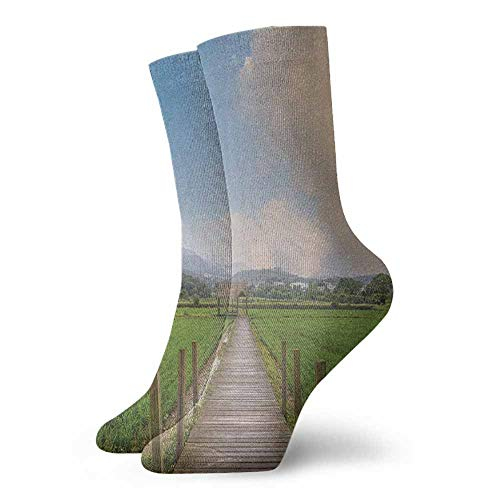 Sports socks Farm Scenery with Wooden Path and Barn Yard Cloudy Sky Nature Theme Picture Suitable for young people