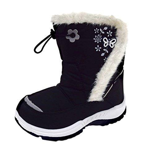 ACO Kinder Winterstiefel Schnee Boots mit Kunstfellrand Gummizug Vorne und Seitlichem Klettverschluss Schwarz Gr.30-35