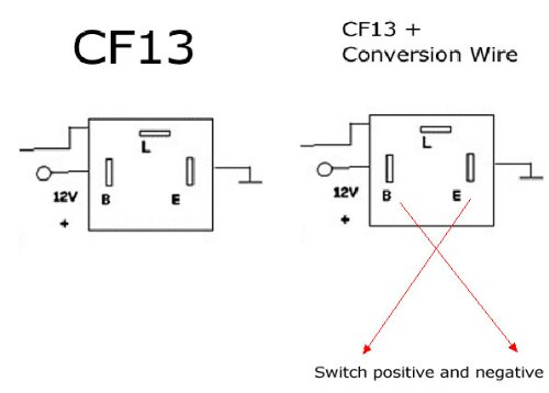 iJDMTOY 3-Pin CF-13 LED Flasher Fix w/Conversion Wire For Both CF13 on